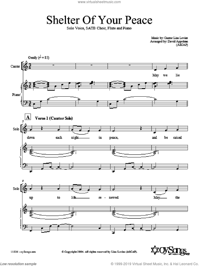 Shelter of Your Peace sheet music for choir (SATB: soprano, alto, tenor, bass) by L. Levine/arr. D. Appelman and Lisa Levine, intermediate skill level