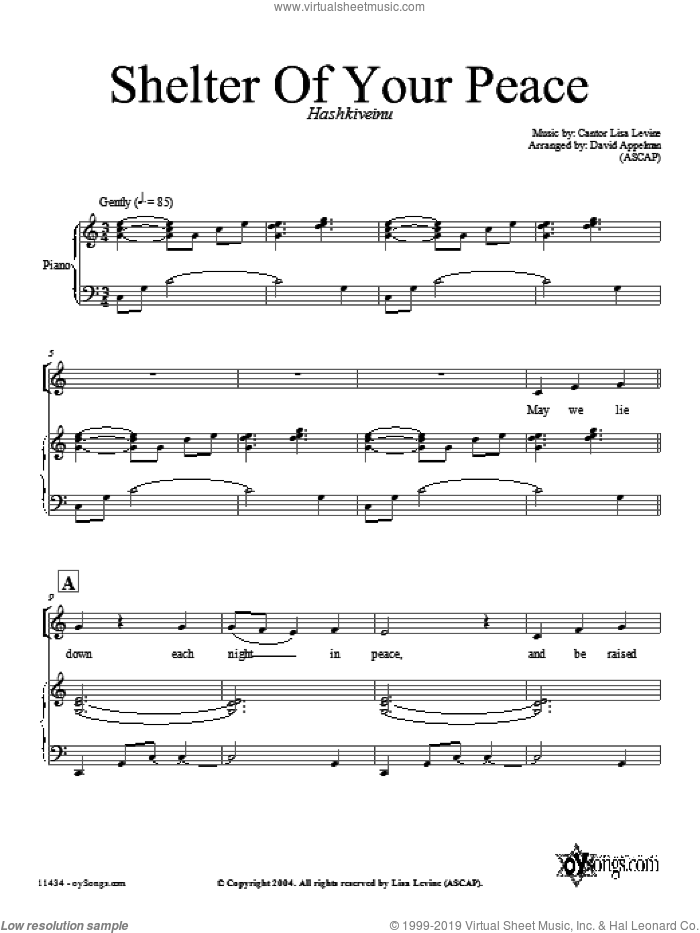 Shelter of Your Peace sheet music for choir (SATB: soprano, alto, tenor, bass) by David Appelman and Lisa Levine, intermediate skill level
