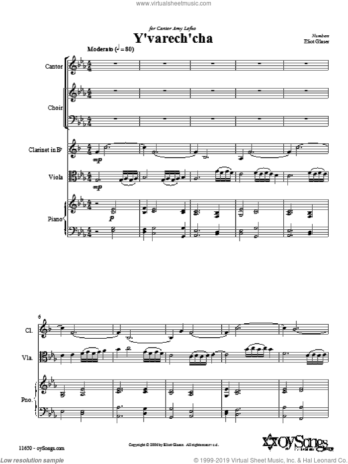 Y'varech'cha sheet music for choir and piano (SATB) by Eliot Glaser. Score Image Preview.