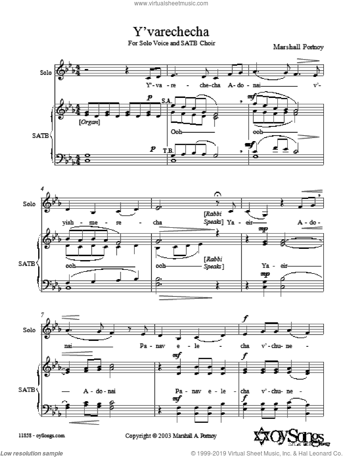 Y'varechecha sheet music for choir (SATB: soprano, alto, tenor, bass) by Marshall Portnoy, intermediate skill level