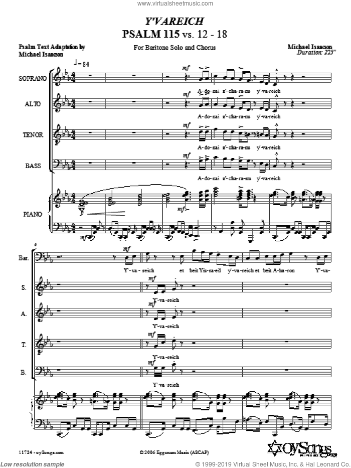 Y'vareich (Psalm 115) sheet music for choir and piano (SATB) by Michael Isaacson. Score Image Preview.