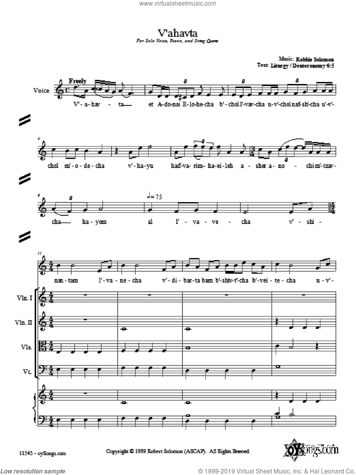 V'ahavta sheet music for choir and piano (Strings) by Robbie Solomon. Score Image Preview.