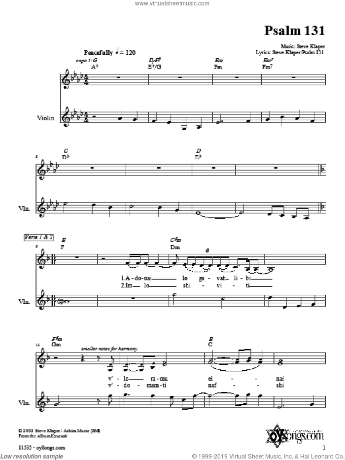 Psalm 131 sheet music for choir and piano (violin) by Steve Klaper. Score Image Preview.