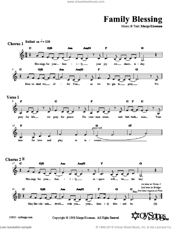 Family Blessing sheet music for voice and other instruments (fake book) by Marge Eiseman. Score Image Preview.