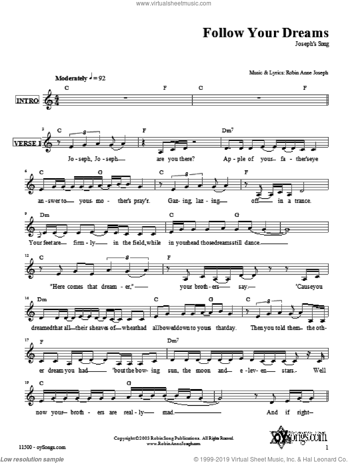 Follow Your Dreams (Joseph's Song) sheet music for voice and other instruments (fake book) by Robin Joseph. Score Image Preview.