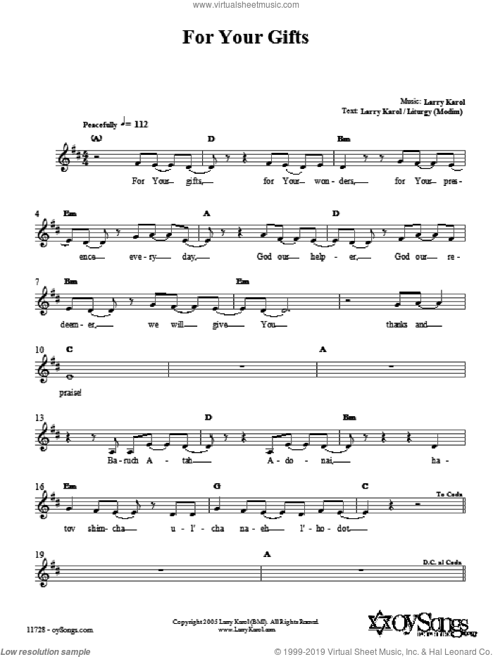 For Your Gifts sheet music for voice and other instruments (fake book) by Larry Karol. Score Image Preview.