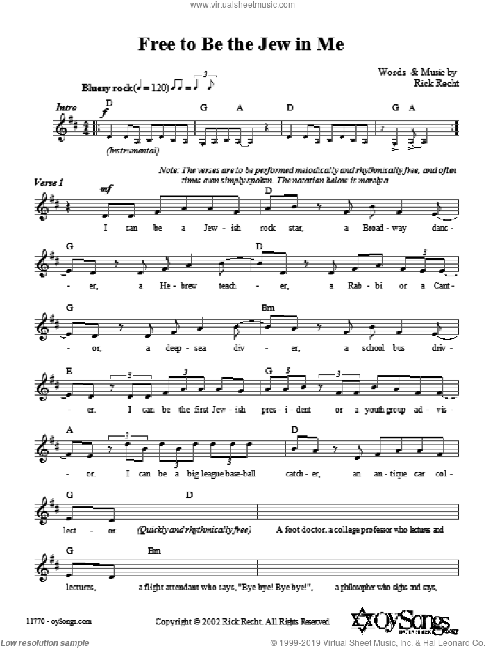 Free To Be The Jew In Me sheet music for voice and other instruments (fake book) by Rick Recht. Score Image Preview.
