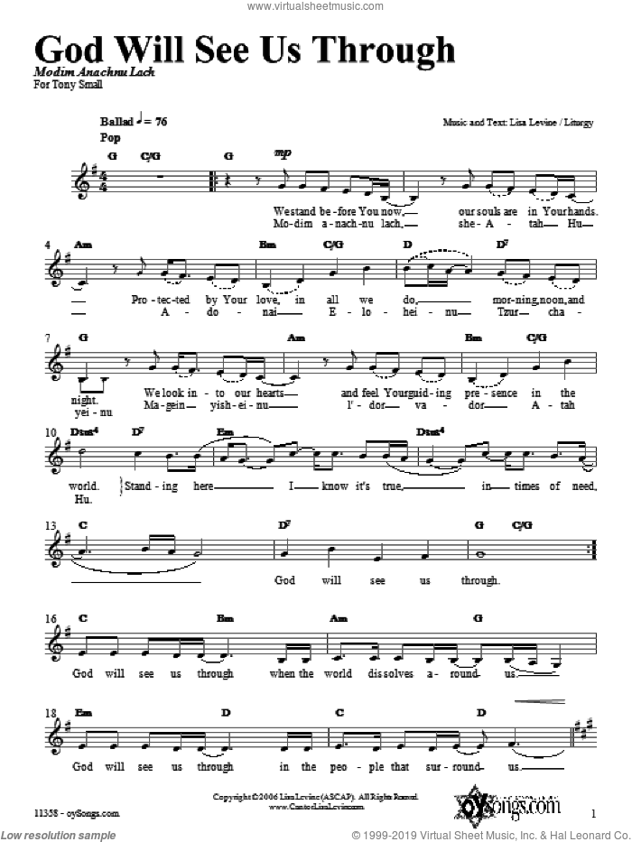 God Will See Us Through sheet music for voice and other instruments (fake book) by Lisa Levine. Score Image Preview.