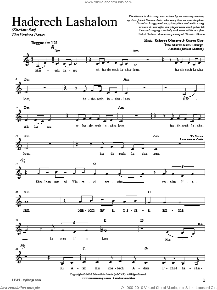 Haderech Lashalom sheet music for voice and other instruments (fake book) by Rebecca Schwartz. Score Image Preview.