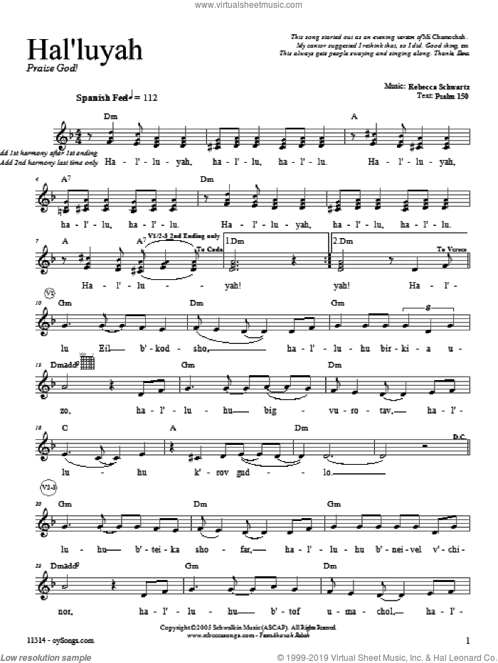 Hal'luyah sheet music for voice and other instruments (fake book) by Rebecca Schwartz. Score Image Preview.