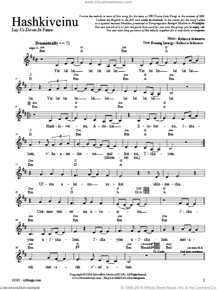 Hashkiveinu sheet music for voice and other instruments (fake book) by Rebecca Schwartz, intermediate. Score Image Preview.