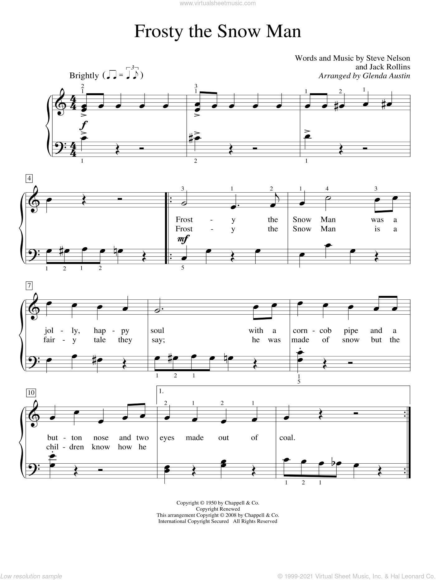 Frosty The Snow Man sheet music for piano solo (elementary) by Gene Autry, Glenda Austin, Jack Rollins and Steve Nelson, beginner piano (elementary)