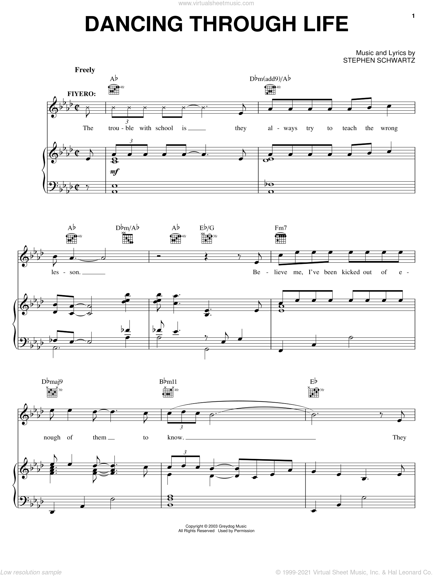 Dancing Through Life sheet music for voice, piano or guitar by Stephen Schwartz and Wicked (Musical), intermediate skill level