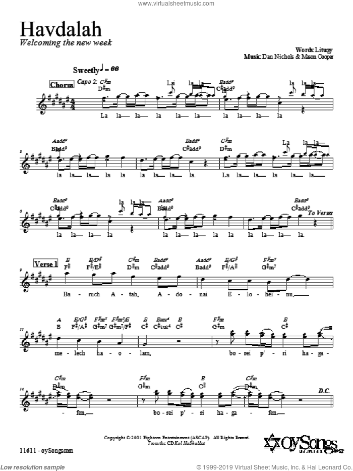 Havdalah sheet music for voice and other instruments (fake book) by Dan Nichols, intermediate voice. Score Image Preview.