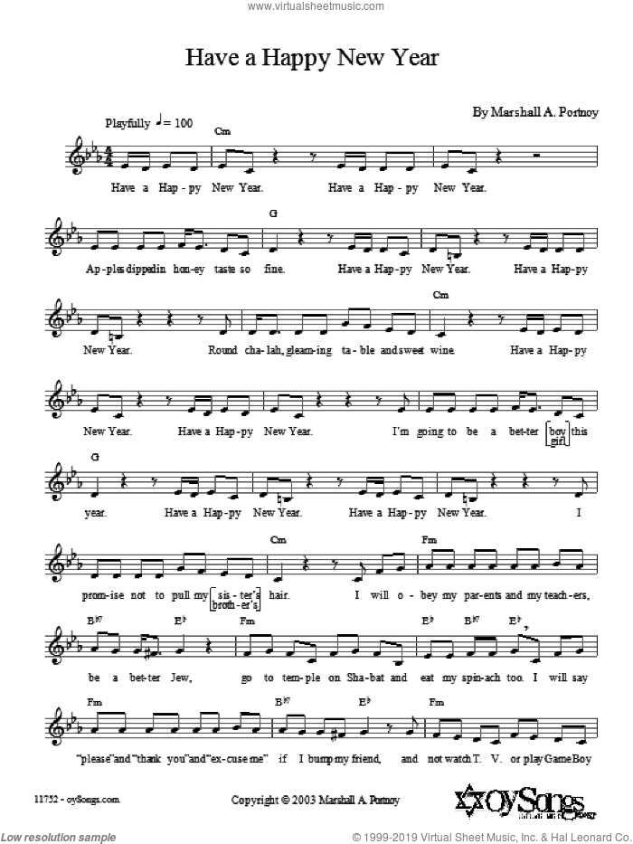 Have a Happy New Year sheet music for voice and other instruments (fake book) by Marshall Portnoy