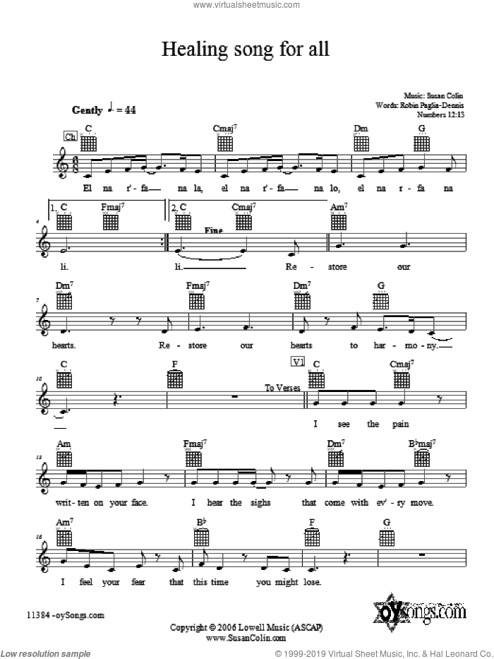 Healing Song For All sheet music for voice and other instruments (fake book) by Susan Colin, intermediate skill level