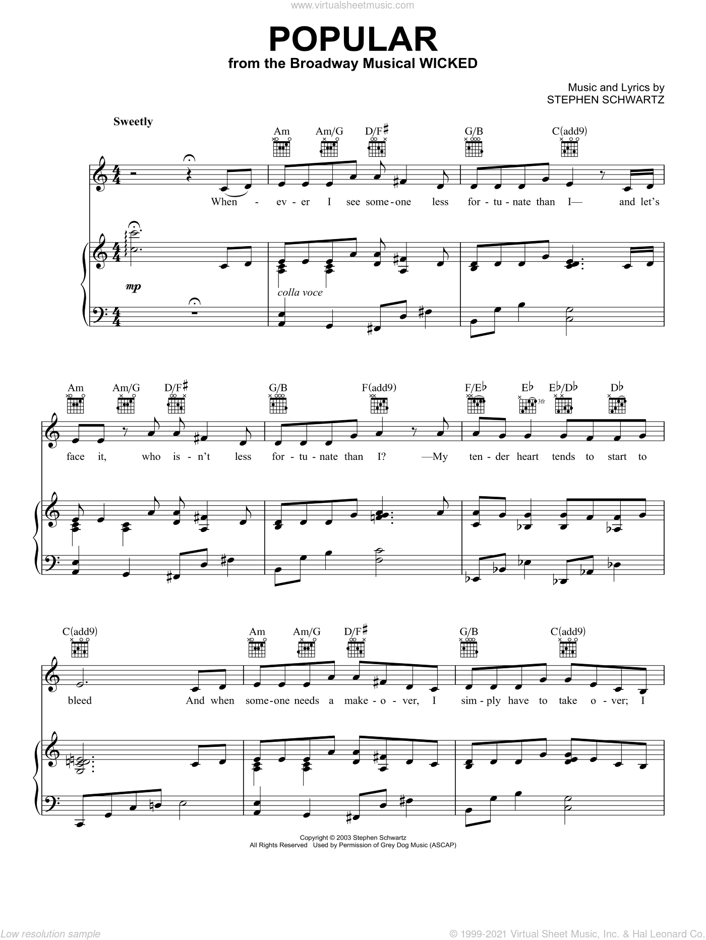 Popular sheet music for voice, piano or guitar by Stephen Schwartz. Score Image Preview.