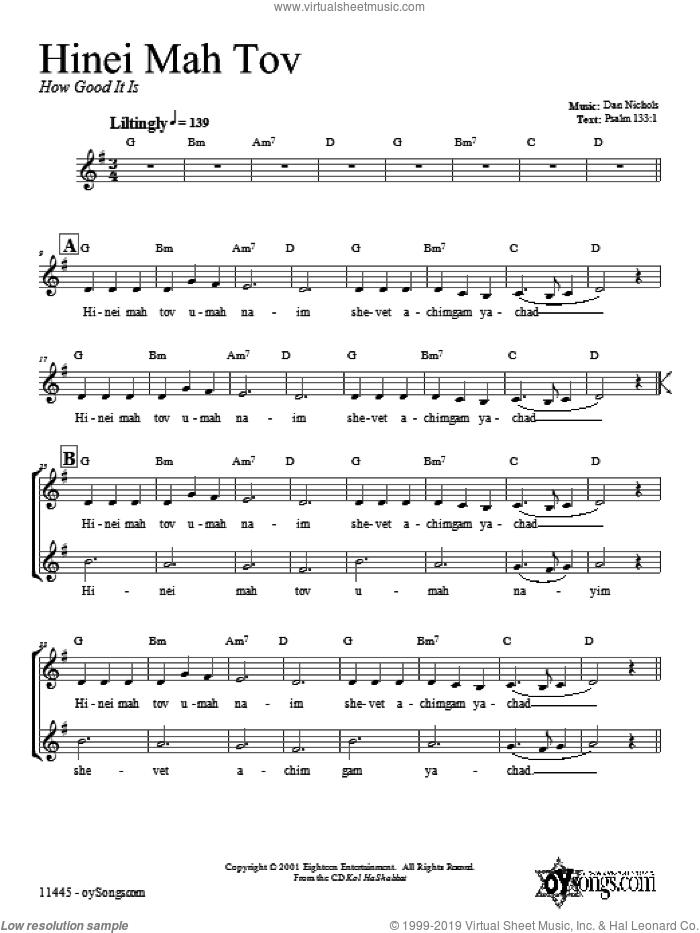 Hinei Mah Tov sheet music for voice and other instruments (fake book) by Dan Nichols, intermediate skill level