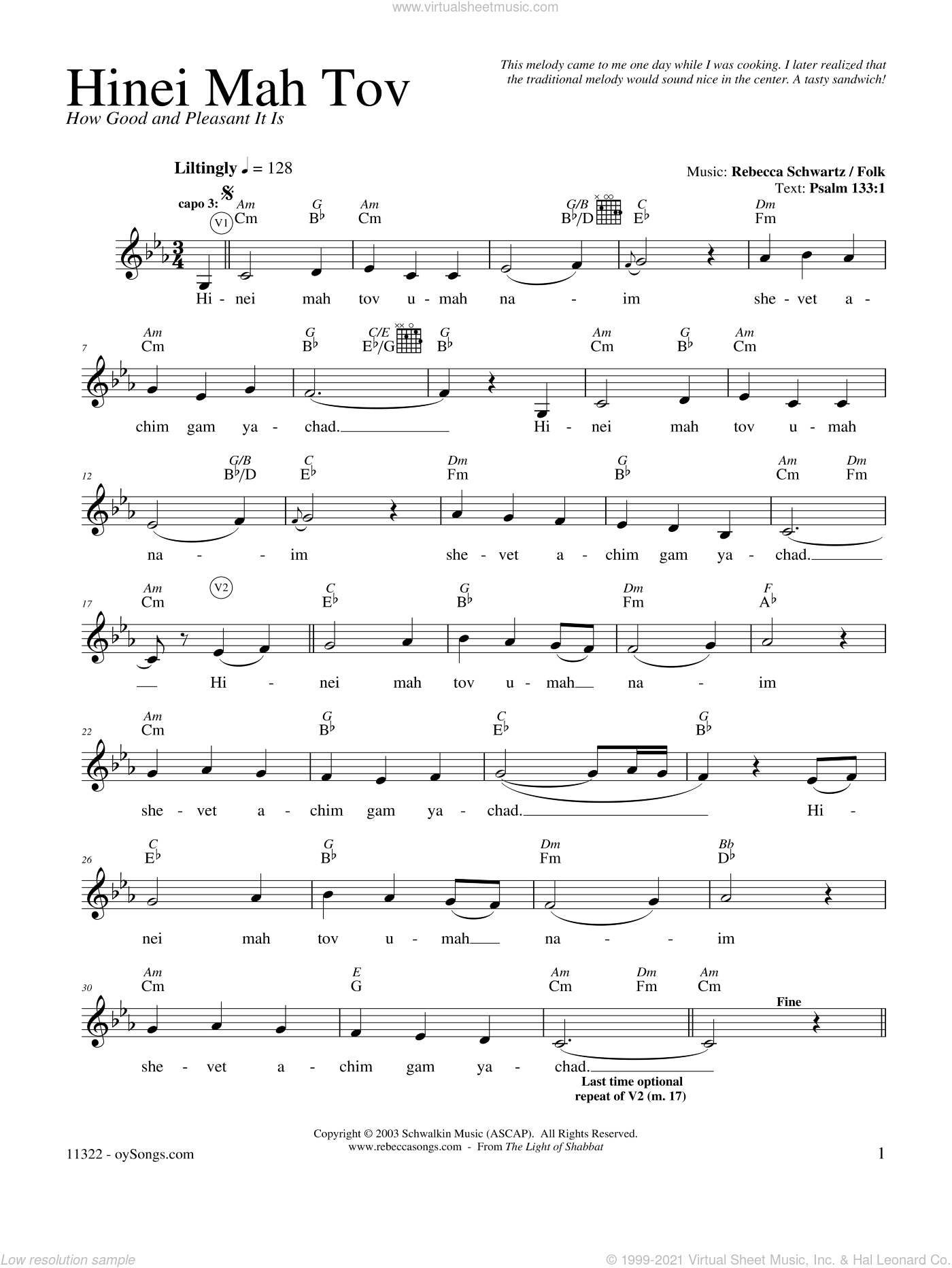 Hinei Mah Tov sheet music for voice and other instruments (fake book) by Rebecca Schwartz, intermediate skill level