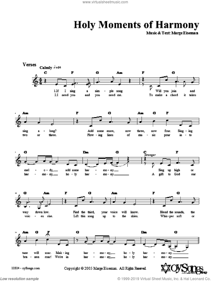 Holy Moments of Harmony sheet music for voice and other instruments (fake book) by Marge Eiseman. Score Image Preview.