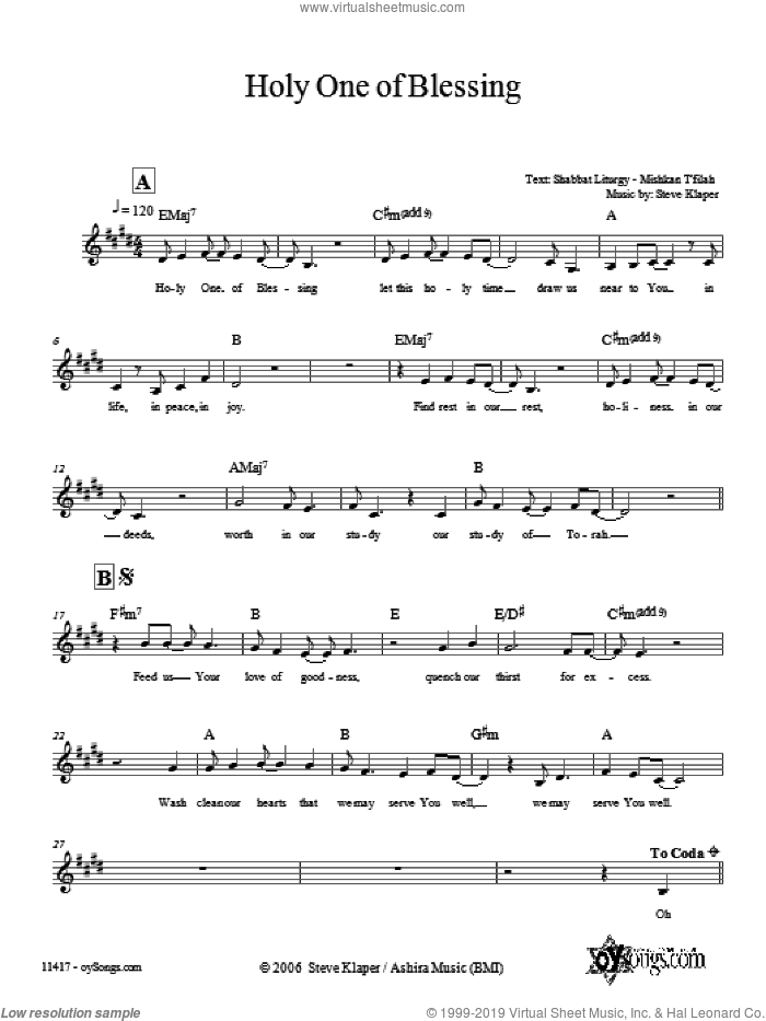 Holy One of Blessing sheet music for voice and other instruments (fake book) by Steve Klaper, intermediate skill level