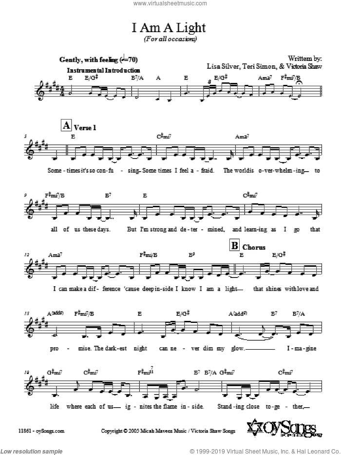 I Am A Light (For All Occasions) sheet music for voice and other instruments (fake book) by Lisa Silver