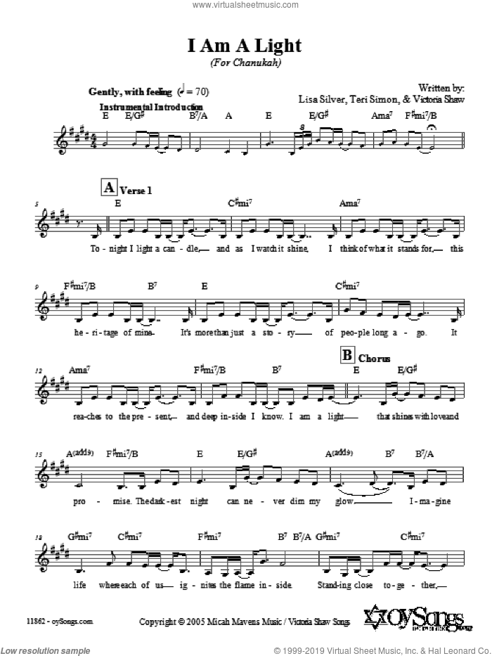 I Am A Light (Shoah Version) sheet music for voice and other instruments (fake book) by Lisa Silver. Score Image Preview.