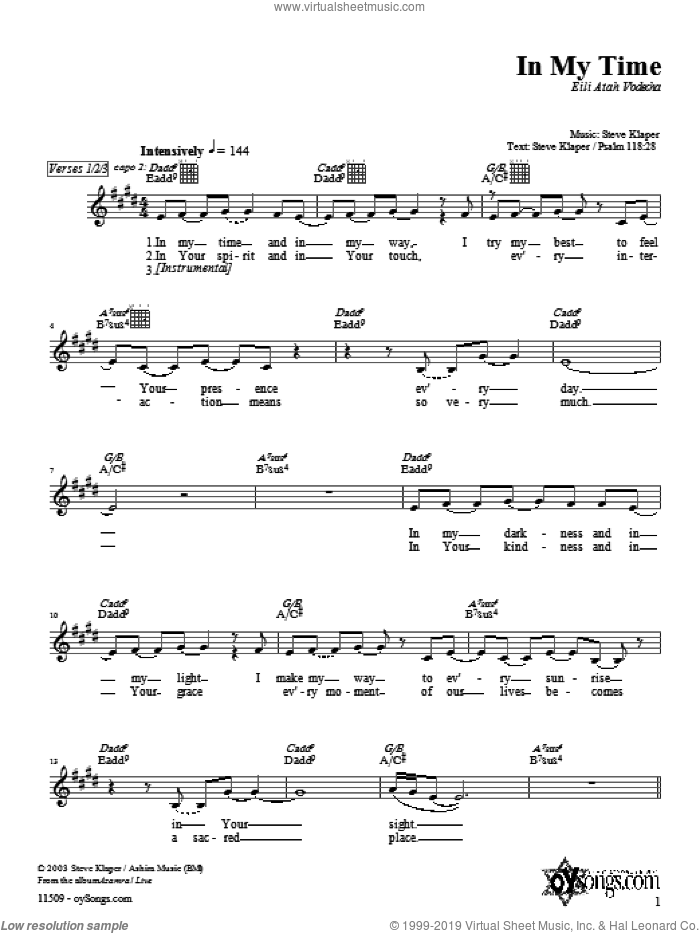 In My Time sheet music for voice and other instruments (fake book) by Steve Klaper, intermediate skill level