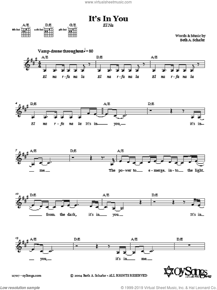 It's In You (El Na) sheet music for voice and other instruments (fake book) by Beth Schafer