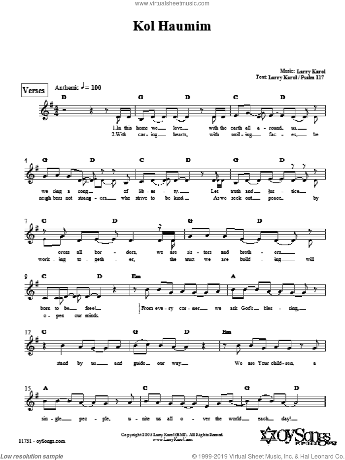 Kol Haumim sheet music for voice and other instruments (fake book) by Larry Karol. Score Image Preview.
