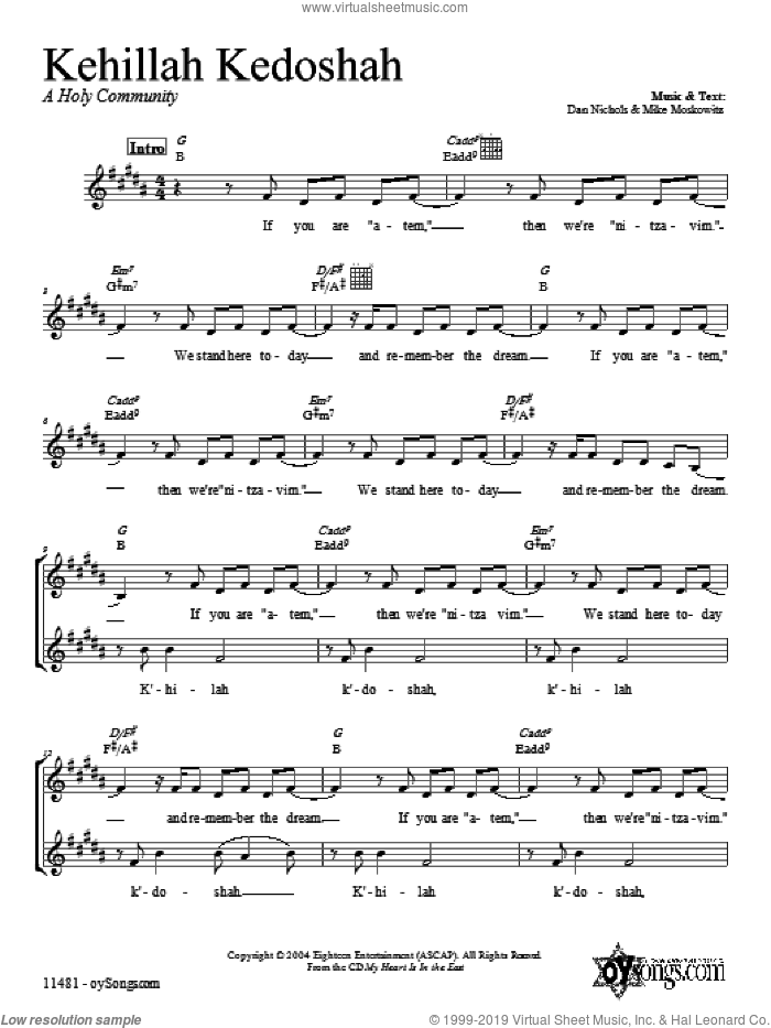 Kehillah Kedoshah sheet music for voice and other instruments (fake book) by Dan Nichols. Score Image Preview.