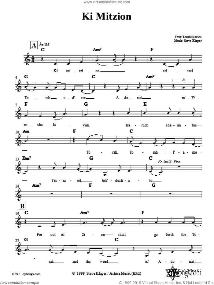 Ki Mitzion sheet music for voice and other instruments (fake book) by Steve Klaper. Score Image Preview.
