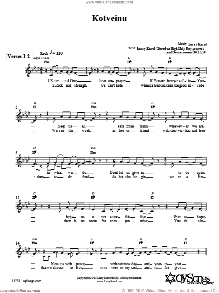 Kotveinu sheet music for voice and other instruments (fake book) by Larry Karol, intermediate skill level