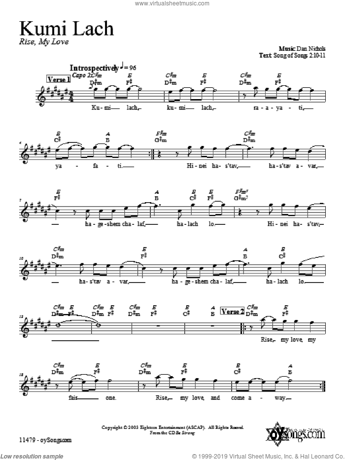 Kumi Lach sheet music for voice and other instruments (fake book) by Dan Nichols, intermediate skill level
