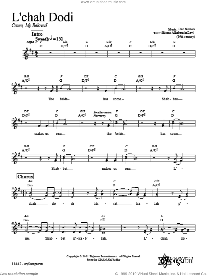 L'cha Dodi sheet music for voice and other instruments (fake book) by Dan Nichols. Score Image Preview.