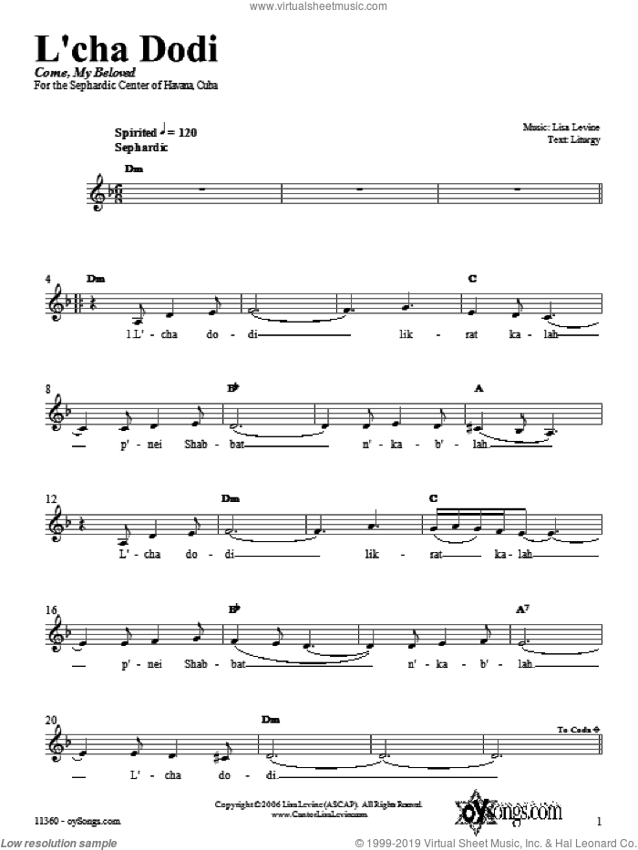 L'cha Dodi sheet music for voice and other instruments (fake book) by Lisa Levine, intermediate. Score Image Preview.