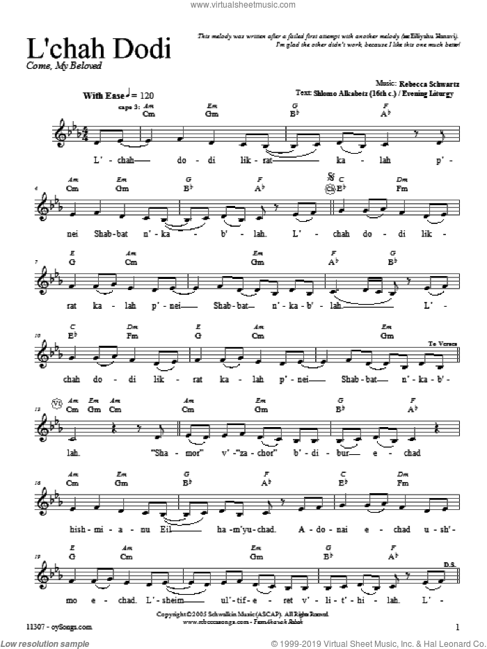 L'chah Dodi sheet music for voice and other instruments (fake book) by Rebecca Schwartz. Score Image Preview.