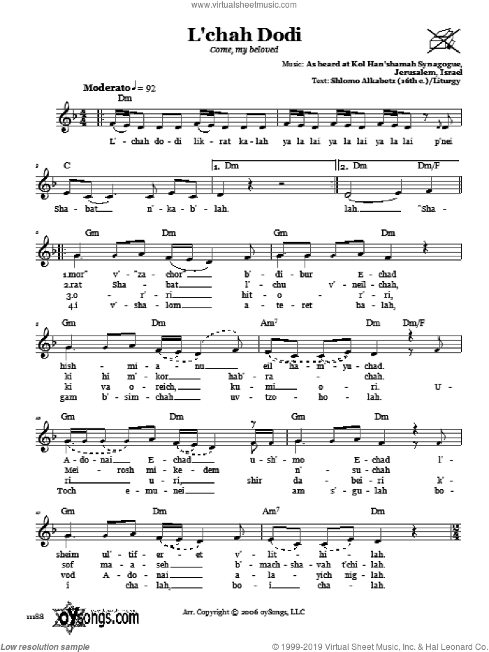 L'chah Dodi (Come, My Beloved) sheet music for voice and other instruments (fake book) by Kol Han'shamah Synagogue. Score Image Preview.