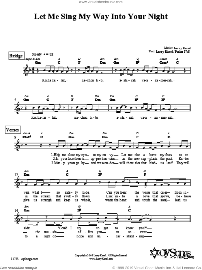 Let Me Sing My Way Into Your Night sheet music for voice and other instruments (fake book) by Larry Karol. Score Image Preview.