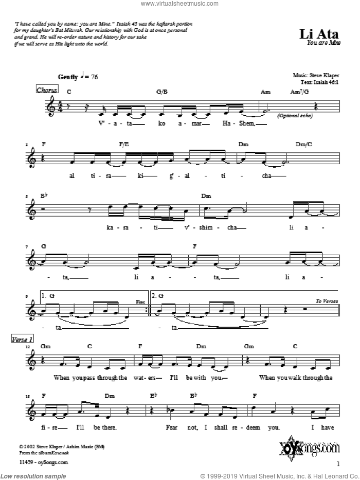 Li Ata sheet music for voice and other instruments (fake book) by Steve Klaper, intermediate. Score Image Preview.
