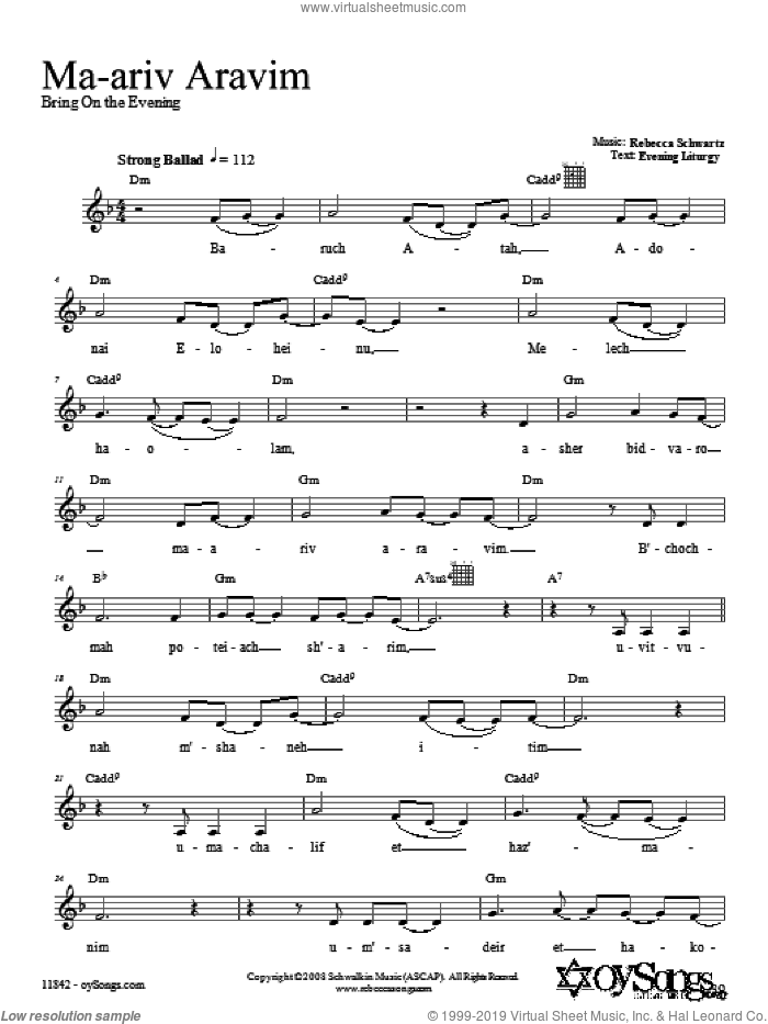 Ma-ariv Aravim sheet music for voice and other instruments (fake book) by Rebecca Schwartz, intermediate. Score Image Preview.