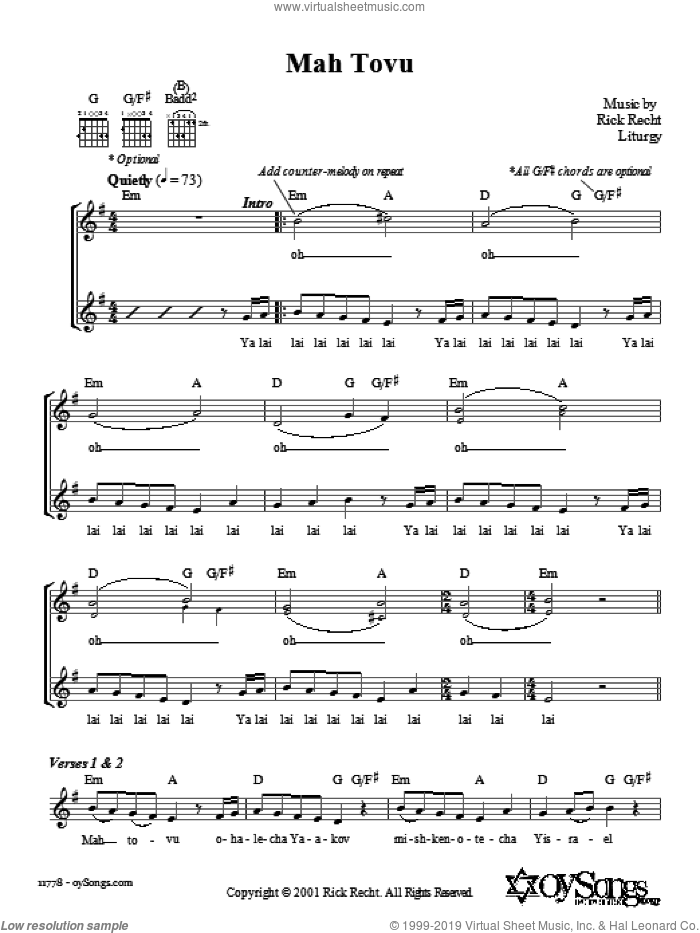 Mah Tovu sheet music for voice and other instruments (fake book) by Rick Recht. Score Image Preview.