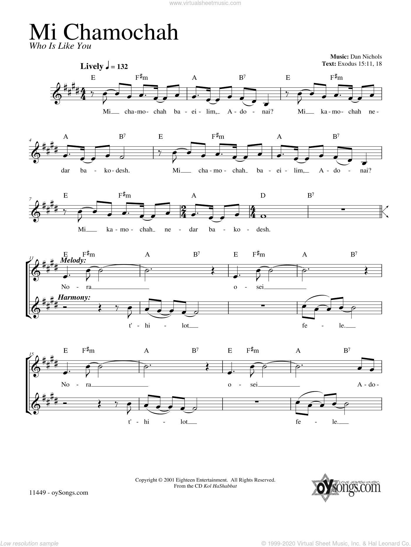 Mi Chamocha sheet music for voice and other instruments (fake book) by Dan Nichols. Score Image Preview.