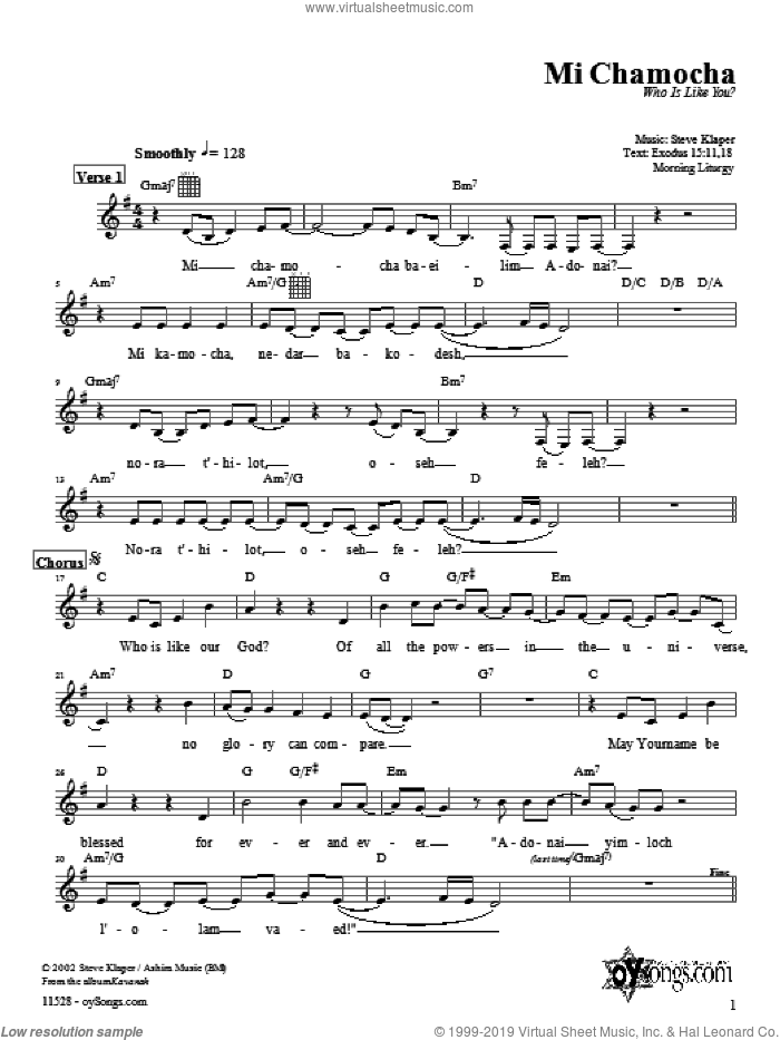 Mi Chamocha (morning) sheet music for voice and other instruments (fake book) by Steve Klaper, intermediate skill level