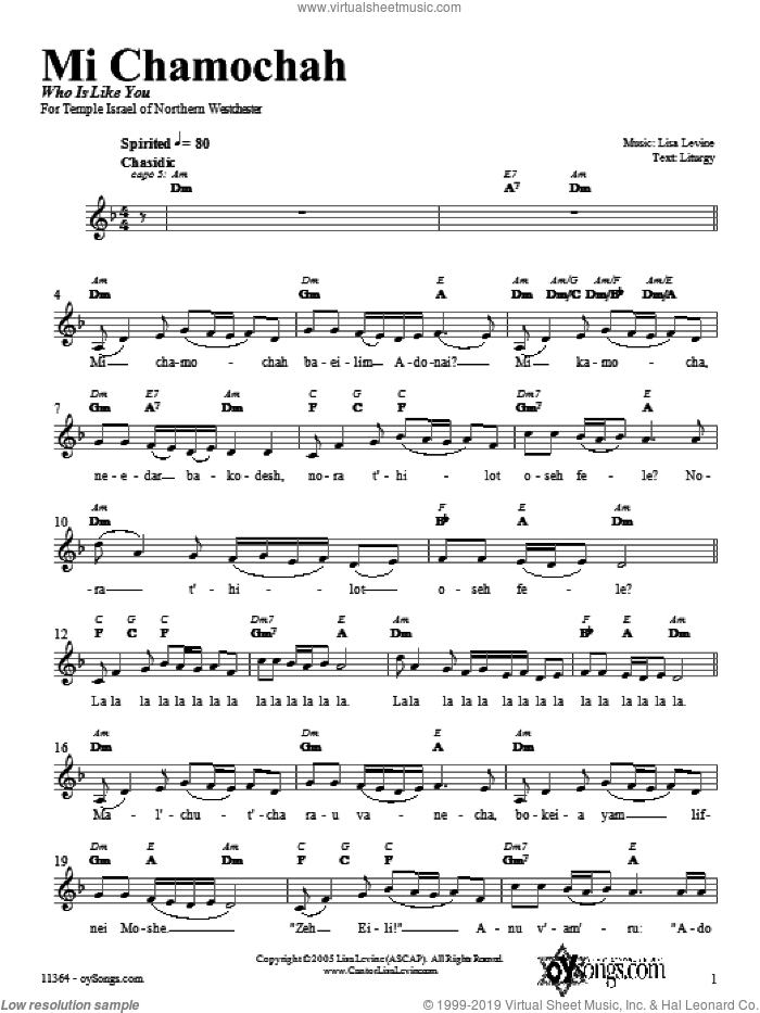 Mi Chamochah sheet music for voice and other instruments (fake book) by Lisa Levine. Score Image Preview.