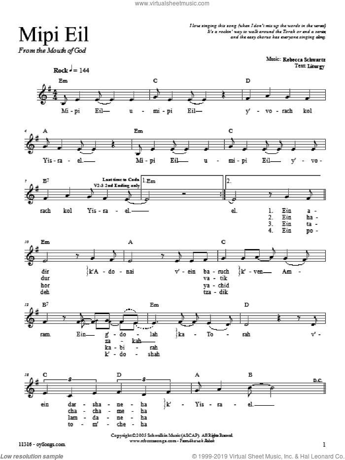 Mipi Eil sheet music for voice and other instruments (fake book) by Rebecca Schwartz. Score Image Preview.