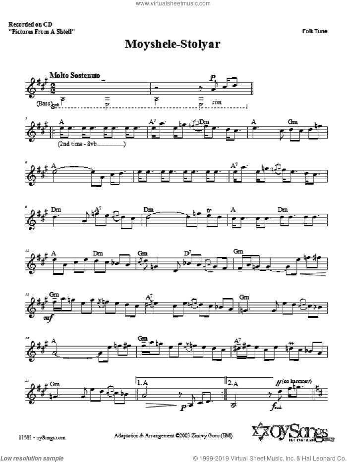 Moyshele-Stolyar sheet music for voice and other instruments (fake book) by Zinovy Goro. Score Image Preview.