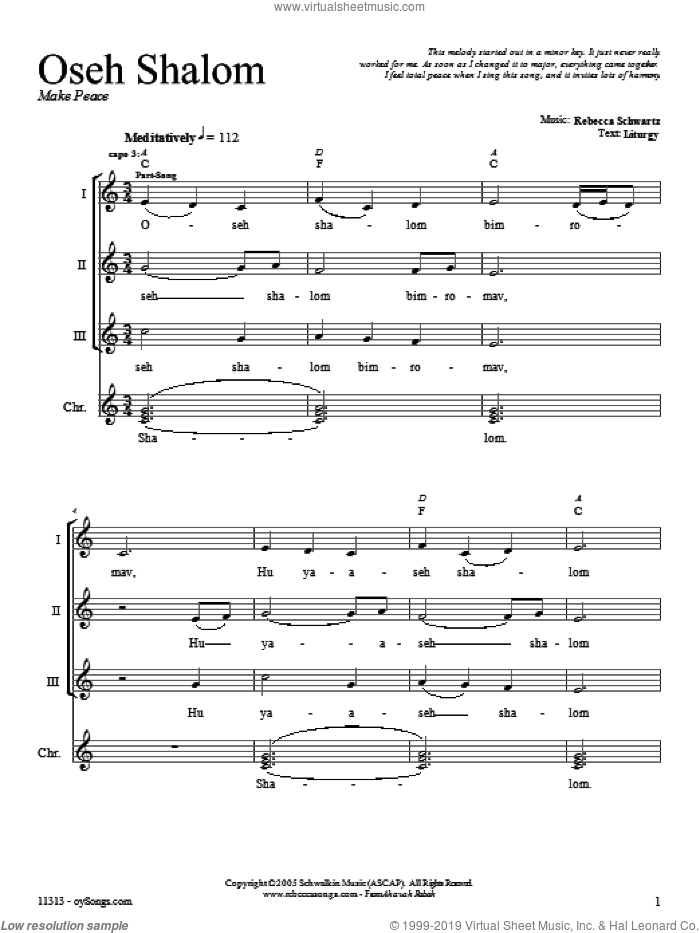 Oseh Shalom sheet music for voice and other instruments (fake book) by Rebecca Schwartz. Score Image Preview.
