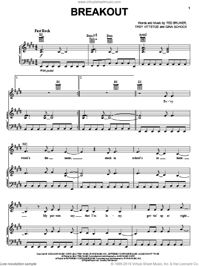 Breakout sheet music for voice, piano or guitar by Miley Cyrus, Gina Schock, Ted Bruner and Trey Vittetoe, intermediate skill level