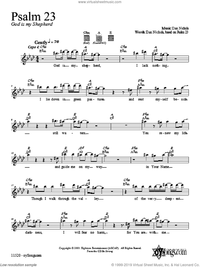 Psalm 23 sheet music for voice and other instruments (fake book) by Dan Nichols, intermediate. Score Image Preview.